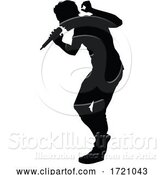 Vector Illustration of Singer Pop Country or Rock Star Silhouette by AtStockIllustration