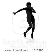 Vector Illustration of Singer Pop Country or Rock Star Silhouette Lady, on a White Background by AtStockIllustration