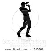 Vector Illustration of Singer Pop Country or Rock Star Silhouette, on a White Background by AtStockIllustration