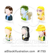 Vector Illustration of Six Avatar People; Business Woman, Fairy, Bikini Girl, German Waitress, Nun, and Female Engineer by AtStockIllustration