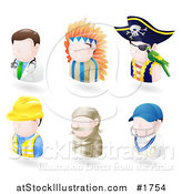 Vector Illustration of Six Avatar People; Doctor, Native American, Pirate, Contractor, Mummy and a Cricket Player by AtStockIllustration