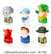 Vector Illustration of Six Avatar People; Scientist, Baseball Player, Leprechaun, Devil, Teenage Boy, and a Sheriff by AtStockIllustration