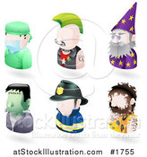 Vector Illustration of Six Avatar People; Surgeon, Punk, Wizard, Frankenstein, Firefighter, and a Caveman by AtStockIllustration