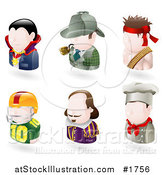 Vector Illustration of Six Avatar People; Vampire, Sherlock Holmes, Rambo, American Football Player, Shakespear, and a Chef by AtStockIllustration