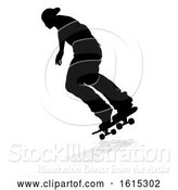 Vector Illustration of Skater Skateboarder Silhouette, on a White Background by AtStockIllustration