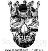 Vector Illustration of Skull Cool Sunglasses Skeleton in Shades and Crown by AtStockIllustration