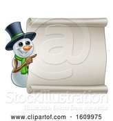 Vector Illustration of Snowman Christmas Sign by AtStockIllustration