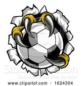 Vector Illustration of Soccer Ball Eagle Claw Talons Tearing Background by AtStockIllustration