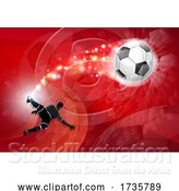 Vector Illustration of Soccer Silhouette Abstract Football Red Background by AtStockIllustration