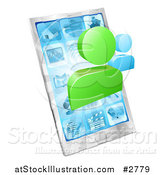 Vector Illustration of Social Networking Avatars over a 3d Cell Phone by AtStockIllustration