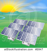 Vector Illustration of Solar Panels in a Hilly Landscape with a Stream and Sunset by AtStockIllustration