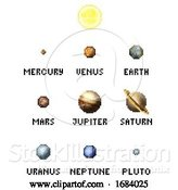 Vector Illustration of Solar System Planets 8 Bit Video Game Pixel Art by AtStockIllustration