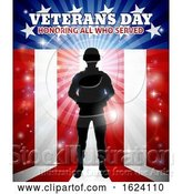 Vector Illustration of Soldier American Flag Veterans Day Design by AtStockIllustration