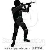 Vector Illustration of Soldier Detailed Silhouette by AtStockIllustration