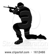 Vector Illustration of Soldier Detailed Silhouette, on a White Background by AtStockIllustration