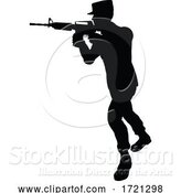 Vector Illustration of Soldier High Quality Silhouette by AtStockIllustration