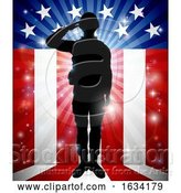 Vector Illustration of Soldier Saluting American Flag Background by AtStockIllustration