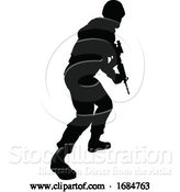 Vector Illustration of Soldier Silhouette by AtStockIllustration