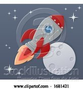 Vector Illustration of Space Rocket Ship Paper Craft Moon Scene by AtStockIllustration