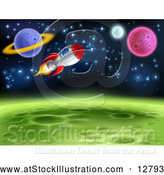 Vector Illustration of Space Rocket Travel near Planets and Stars by AtStockIllustration