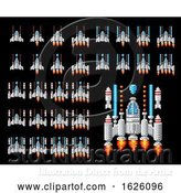 Vector Illustration of Space Ship Pixel Art Video Arcade Game by AtStockIllustration
