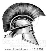 Vector Illustration of Spartan Ancient Greek Warrior Gladiator Helmet by AtStockIllustration