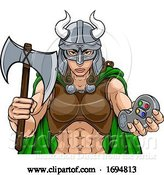 Vector Illustration of Spartan Trojan Female Warrior Gamer Lady by AtStockIllustration