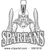Vector Illustration of Spartan Trojan Female Warrior Gladiator Lady by AtStockIllustration