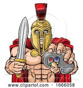 Vector Illustration of Spartan Trojan Gamer Gladiator Controller Mascot by AtStockIllustration