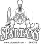 Vector Illustration of Spartan Trojan Gladiator Baseball Warrior Lady by AtStockIllustration