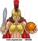 Vector Illustration of Spartan Trojan Gladiator Basketball Warrior Lady by AtStockIllustration