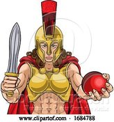 Vector Illustration of Spartan Trojan Gladiator Cricket Warrior Lady by AtStockIllustration