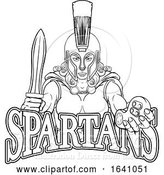 Vector Illustration of Spartan Trojan Gladiator Gamer Warrior Lady by AtStockIllustration