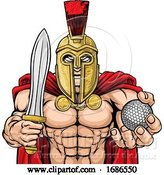 Vector Illustration of Spartan Trojan Golf Sports Mascot by AtStockIllustration