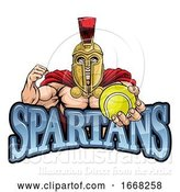 Vector Illustration of Spartan Trojan Tennis Sports Mascot by AtStockIllustration