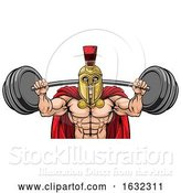 Vector Illustration of Spartan Trojan Weight Lifting Body Building Mascot by AtStockIllustration