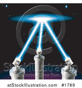 Vector Illustration of Spot Lights Shining up into the Starry Night Sky by AtStockIllustration