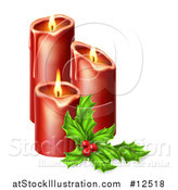 Vector Illustration of Sprig of Holly Beside Lit Christmas Candles by AtStockIllustration