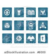 Vector Illustration of Square Blue and White Christian Icons by AtStockIllustration
