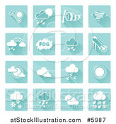 Vector Illustration of Square Blue and White Weather Icons by AtStockIllustration