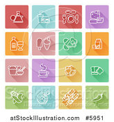 Vector Illustration of Square Colorful Flat Design Tiles with White Food Icons by AtStockIllustration
