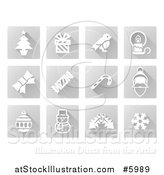 Vector Illustration of Square Grayscale Christmas Icons by AtStockIllustration