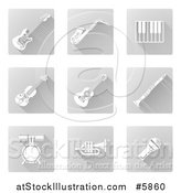 Vector Illustration of Square White and Gray Music Instrument Icons by AtStockIllustration