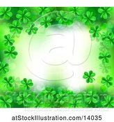 Vector Illustration of St Patricks Day Background with Green Shamrocks and Text Space by AtStockIllustration