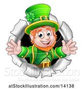 Vector Illustration of St Patricks Day Leprechaun Breaking Through a Hole in a Wall by AtStockIllustration