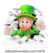 Vector Illustration of St Patricks Day Leprechaun Breaking Through White Brick Wall by AtStockIllustration