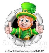 Vector Illustration of St Patricks Day Leprechaun Giving Two Thumbs up and Breaking Through a Hole in a Wall by AtStockIllustration