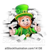 Vector Illustration of St Patricks Day Leprechaun Giving Two Thumbs up and Breaking Through White Brick Wall by AtStockIllustration