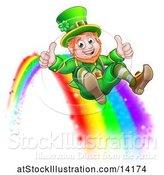 Vector Illustration of St Patricks Day Leprechaun Giving Two Thumbs up and Sliding down a Rainbow by AtStockIllustration