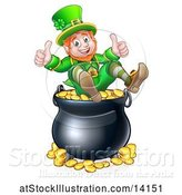 Vector Illustration of St Patricks Day Leprechaun Giving Two Thumbs up on Top of a Pot of Gold by AtStockIllustration